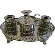 Antique English Georgian Sheffield Plate Standish / Inkstand c.1795