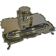 SALE English Sterling Silver Inkstand / Inkwell - 1936
