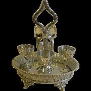 SALE Fabulous Antique English Basket Weave Egg Cruet c.1880