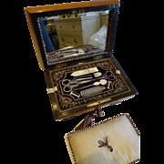 Stunning Antique French Palais Royal Sewing Box c.1820