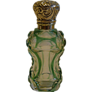 SALE Antique English Green Overlay Glass Perfume Bottle - Sterling Silver c.1890