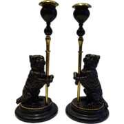 SALE Pair Antique French Figural Candlesticks - Bronze Dogs With Glass Eyes c.1870