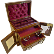 Stunning English Walnut Jewellery Box With Glazed Doors c.1900