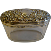 Large Oval Antique English Cut Crystal & Sterling Silver Vanity Jar of Box