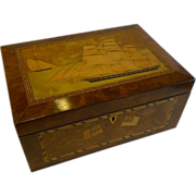 SALE Magnificent Antique English Trinity House Sewing / Jewelry Box c.1870