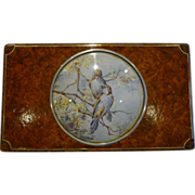 SALE Unusual Antique Amboyna Trinket Box With Watercolor Under Glass c.1900