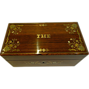 Fabulous Antique French Inlaid Rosewood Tea Caddy c.1840