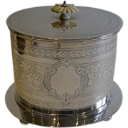 Antique English Silver Plated Biscuit Box c.1880