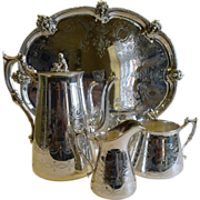 SALE Antique English Silver Plated Coffee Set With Tray - Family Crest, c.1880