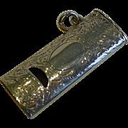SALE Antique English Novelty Sterling Silver Whistle Vesta - 1892