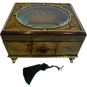 SOLD Magnificent & Unique Antique Austrian Hand-Painted Jewelry / Work Box c.1880