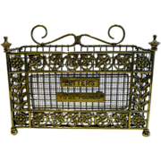 Handsome Antique English Brass Mesh Letter Rack by William Tonk c.1885
