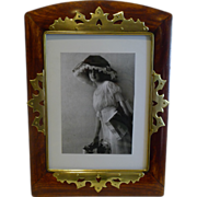 SALE Large Antique Brass Mounted Wooden Photograph Frame c.1890