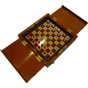 Antique English Travel Chess Set c.1890