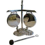 SALE Rare Antique Silver Plated English Novelty Table Gong - 1888