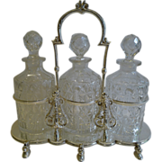 SALE Antique English Figural Tantalus in Silver Plate With Cut Crystal Decanters