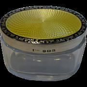 Vintage English Sterling Silver & Guilloche enamel Lidded Vanity Jar
