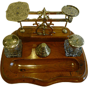 Fabulous Antique English Inkwell / Inkstand With Postage Scales c.1860