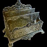 SALE PENDING Grand Antique English Brass Stationery Rack / Holder