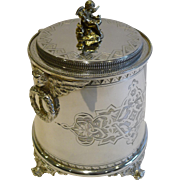 Antique English Figural Biscuit Box c.1880 In Silver Plate - Cherubs