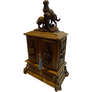 SOLD Antique Black Forest Figural Jewelry Cabinet c.1900 - St Bernard Dogs