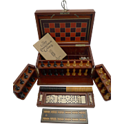 Antique English Mahogany Games Compendium / Box c.1880