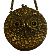 SALE Charming Little Antique English Leather Coin Purse - Brass Owl - Glass Eyes