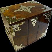 Grand Large Antique English Walnut Cigar Box / Cabinet / Humidor - Brass Mounts c.1880