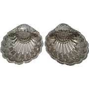 SALE Pair Antique English Sterling Silver Reticulated Shell Dishes by Atkin Brothers