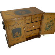 SALE Magnificent English Regency Jewelry Cabinet - Hand Painted c.1820