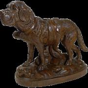 Magnificent Large Carved Black Forest St Bernard Dog c.1890 - Glass Eyes