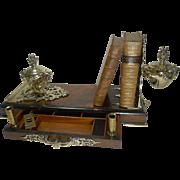 SOLD Rare Grand Antique English Walnut and Brass Book Holder / Desk Set / Inkwells c.1878