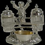 SALE Charming Antique English Figural Silver Plated Novelty Cruet - Reg. 1873