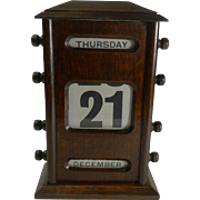 SALE Large Antique English Oak Perpetual Desk Calendar c.1900