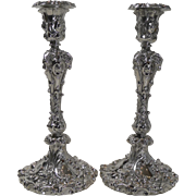 Magnificent & Grand Antique English Silver Plated Candlesticks c.1870 - Rams Heads