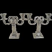 SALE Fabulous Small Pair Corinthian Column Antique English Two Arm Candelabra - Rams Head - ..