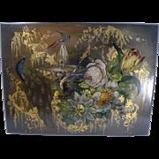 SALE Exquisite Antique English Hand Painted Papier Mache Writing Box / Lap Desk Dated 1844