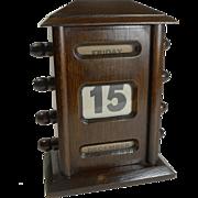 Small Antique English Dark Oak Perpetual Desk Calendar c.1900