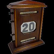 "Oversized Antique English Mahogany Perpetual Calendar c.1900 - 10 1/2"""