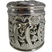 Unusual Antique English Sterling Silver Vanity Jar - Glass Liner - 1902