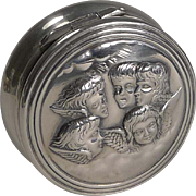 SALE Wonderful Antique English Sterling Silver Pill Box - Reynold's Angels