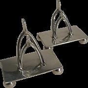 SALE Pair Antique English Sterling Silver Wishbone Menu Holders