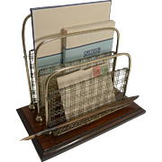Unusual Antique English Oak and Brass Mesh Stationery / Letter Holder by William Tonk and Sons