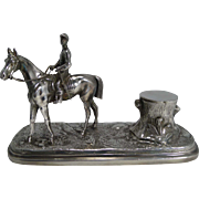Antique English Figural Inkwell - Horse and Jockey by Pryor Tyzack and Co. c.1860