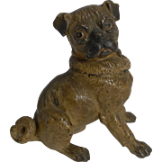 SALE Magnificent Large Austrian Cold Painted Bronze Dog Inkwell - Pug c.1900