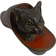 Charming Antique Hand Carved Swiss Forest Figural Inkwell - Cat In Shoe - Glass Eyes