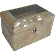 SALE Antique English Single Compartment Tea Caddy In Mother of Pearl c.1860