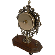 SALE Unusual And Grand Cast Brass and Oak Desk Bell c.1890
