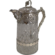 SALE Outstanding Antique English Cut Crystal and Silver Plate Wine Jug c.1880