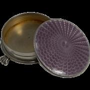 SALE English Sterling Silver Jewelry / Trinket Box - Amethyst Guilloche Enamel